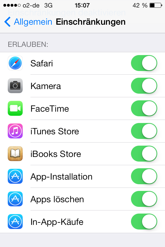Standard Apps sperren
