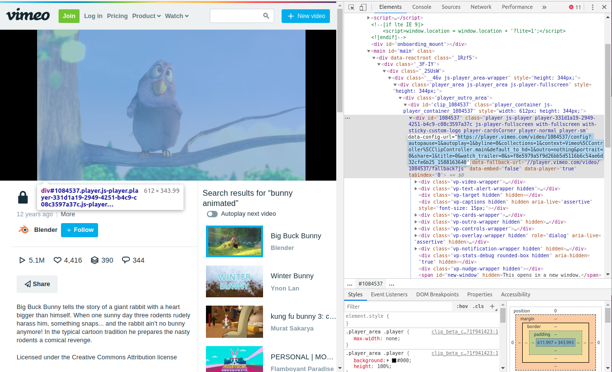 HTML source code of vimeo.com